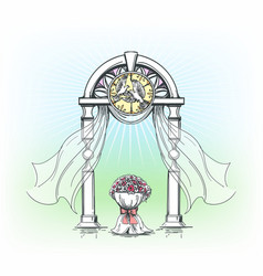 colored wedding arch with rose flowers vector image
