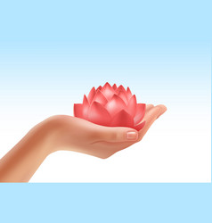 hand keeping flower vector image vector image