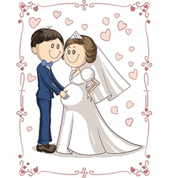 Pregnant Couple Wedding Invitation Cartoon vector image