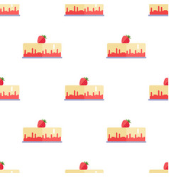 seamless pattern with cake and strawberry isolated vector image