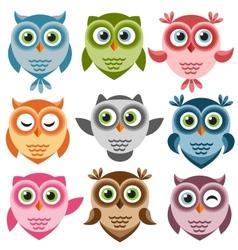Set of cute cartoon owls vector image