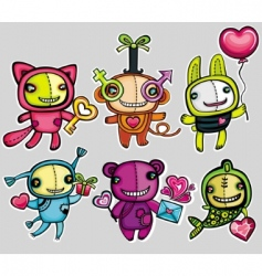 Valentine's cartoon animals vector image