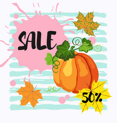50 sale banner with maple leaves pumpkin and vector image