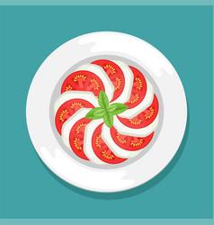 An italian dish tomatoes and mozzarella vector
