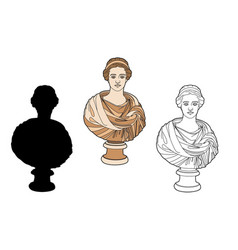 Antique bust of a woman vector