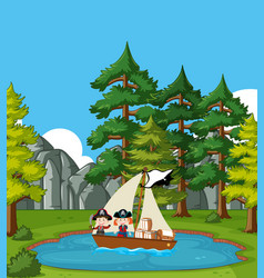 Background scene with kids sailing boat in the vector