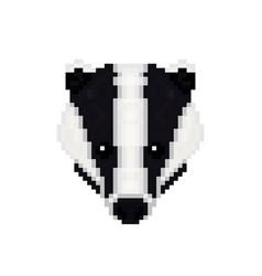 badger head in pixel art style vector image