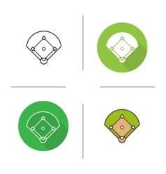 Baseball field icons vector