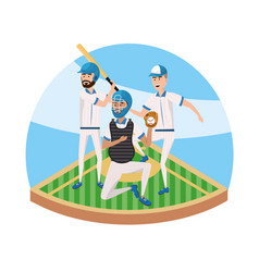 baseball players teamwork in the professional vector image