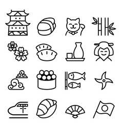 basic japan icon set in thin line style vector image