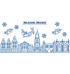 Belgium bruges winter city skyline merry vector
