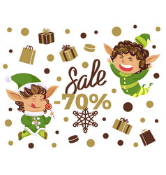 best christmas sale elves with present boxes vector image