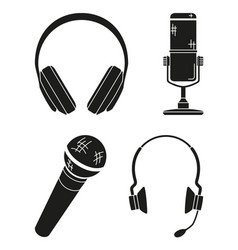 black and white various headset collection vector image