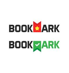 Book store shop logotype as bookmark logo vector