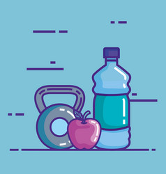 bottle water with apple and dumbell vector image