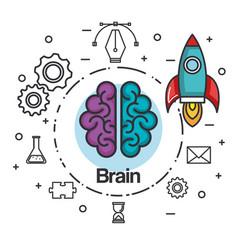 Brain rocket think idea power concept vector