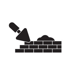 Brick laying masonry black concept icon vector