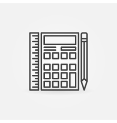 Calculator with ruler and pencil vector