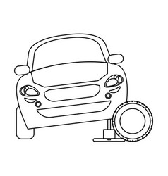 car on hydraulic with tire wheel in black and vector image