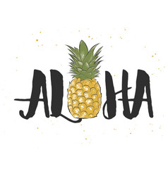 card with hand drawn unique hawaiian typography vector image