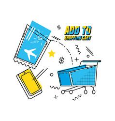 Cart shopping on line pop art vector