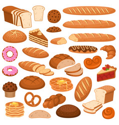 Cartoon bread and cakes bakery wheat products vector