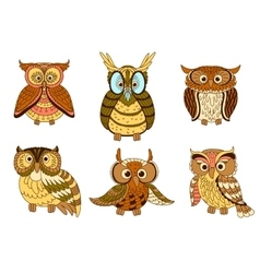 Cartoon funny owlets and eagle owl birds vector image