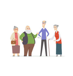 cheerful senior people - set of cartoon characters vector image