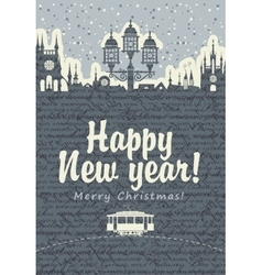 Christmas card with an old tram vector image vector image