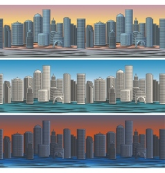 city skylines in morning afternoon and evening vector image