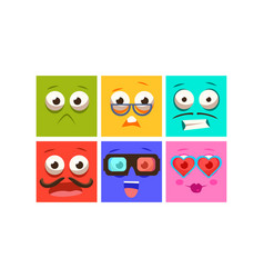 collection of colorful faces with different vector image