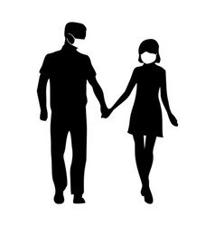 Couple in medical face front view people vector