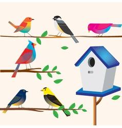 Cute bird set with the house vector