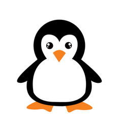 Cute cartoon penguin on white background vector