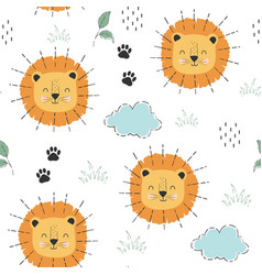 Cute tiger and plant seamless pattern print design vector