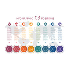 diagram info graphics template 8 positions vector image