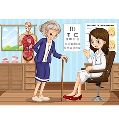 Doctor and old woman in clinic vector