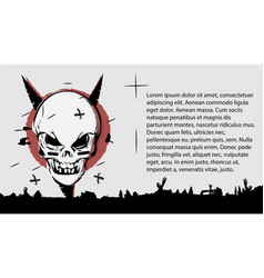 Evil skull a terrible page of the book template vector