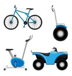 Exercise bike and bicycle all-terrain vehicle vector