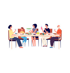 family lunch happy people eating together vector image