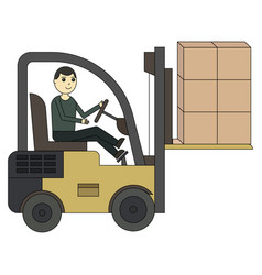 forklift truck fork loader pallet with stacked vector image