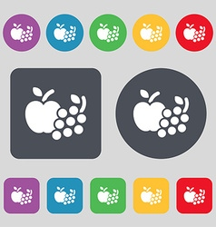 Fruits web icons sign A set of 12 colored buttons vector image
