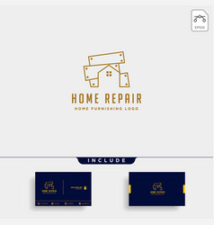 furniture logo design with gold color icon icon vector image