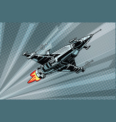 Futuristic outer space battle starship vector