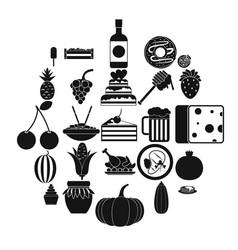 Gastronomic pleasure icons set simple style vector