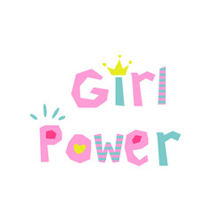 Girl power slogan cute style vector