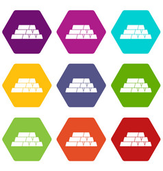 gold bars icon set color hexahedron vector image