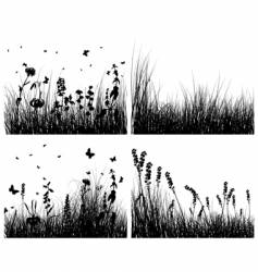 grass silhouettes set vector image