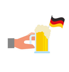 hand holding beer glass and flag germany vector image