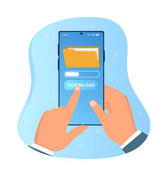 Hands holding smartphone with file downloading vector